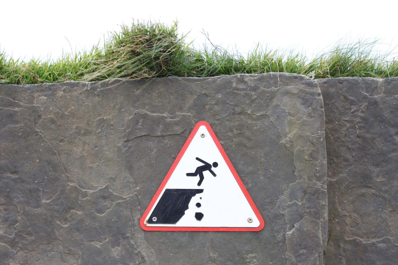 sign man falling
